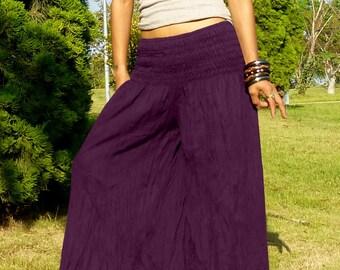 Plus Size * Palazzo Pants With Very Elastic Waist * Gaucho Pants * Thai Harem Pants Women * Aladdin *Baggy*Wide Legs*Genie* KS-Plus * purple