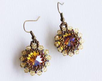 Earrings Sunflower with a shiny rivoli