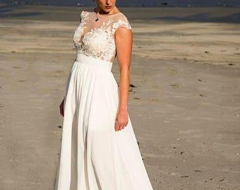 Beach Wedding Dress, Illusion Back Wedding Dress, Venice Lace Wedding Dress, Wedding Gown, Bridal Dress, Custom Dress, Lace Wedding Dress