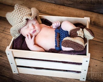 Crochet Cowboy Denim Diaper Cover Set Photo Prop/Infant Halloween Costume/Photography Prop/Baby Shower Gift/Cowboy Cake Smash/Country Coy