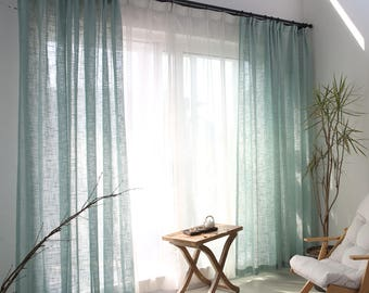 two soft powderblue faux linen custom curtain panels made to order custom size available