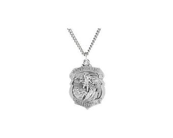 Engravable Badge Shaped St. Michael / Saint Michael Religious Medal Necklace in Sterling Silver - Ship Next Business Day