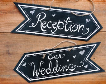 2 hand painted wedding signs, 2 direction arrows wedding signs, Handmade wedding signs, Wedding and Reception signs