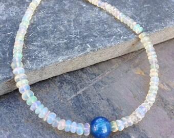 Ethiopian Welo Opal Bracelet/Opal/Flashy opal/Kyanite