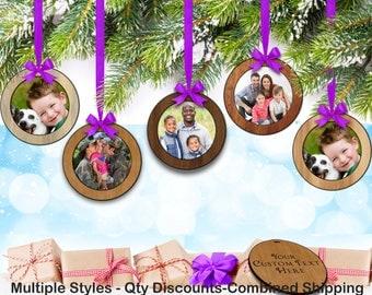 Hardwood 5/Set Tiny (2.0in) Photo Frame  Holiday Ornament w/ Custom Text
