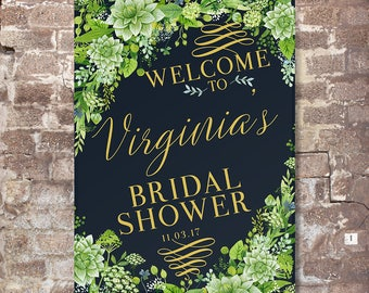Bridal Shower Welcome Sign - Bridal Shower Sign - Printed Bridal Shower Sign - Succulents Bridal Shower