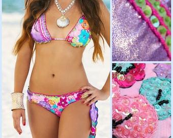 triangle bikini, cheeky bikini, beaded bikini, bridal bikini, Unique Swimsuit, Metallic Bikini, Sexy Bikini, swimsuit, Floridita, Islamorada