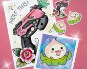 LIMITED TIME BUNDLE! Nerf This! D.Va & Pachimari Watercolor Print Set and Stickers by Michelle Coffee