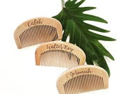 Personalized wood burned wooden comb