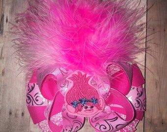 Girls Trolls Poppy Troll Boutique bow Hair Bow Hairbow wih Marabou Hair and Feltie! shades of pink!