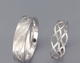 SALE 14K White Gold Eternity Wedding Rings Set   Handmade 14k white gold eternity wedding Rings   His and Hers Wedding Bands Set