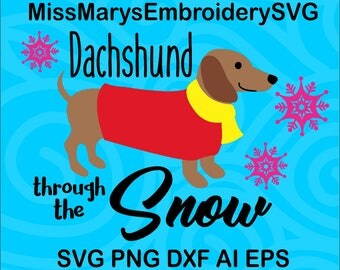 SVG Dachshund Through the Snow design Instant Download PNG