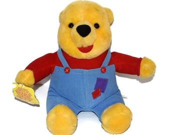 "Vintage Plush Winnie The Pooh Hug n Wiggle Nose Interactive Talking Toy Mattel 1997 12"""
