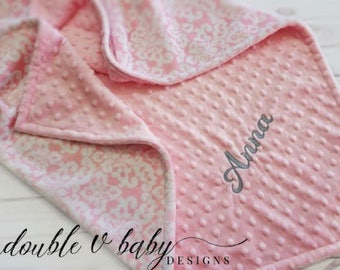 Personalized Girl Baby Blanket, Pink and Gray Baby Blanket, Girl Minky Blanket, Damask Baby Blanket, Stroller Blanket