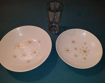 Star Glow by Royal China vintage bowls and glass mid century star atomic dishes