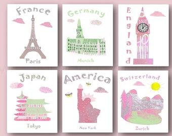18 nursery wall art,baby girl art print,pink,green,France,Grmany,England,Japan,USA,Switzerland,tableau chambre enfant