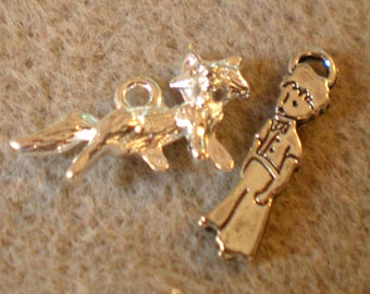 Set of 2 silver metal little PRINCE/Fox charms