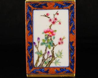 N3849 China Qing Dynasty Gilt Edges Famille Rose Porcelain Brush Pot