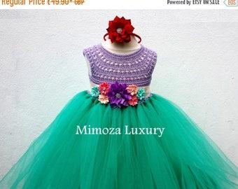 SALE The Little Mermaid tutu dress, Ariel princess dress, little mermaid crochet top tulle dress, ariel hand knit top tutu dress, disney pri
