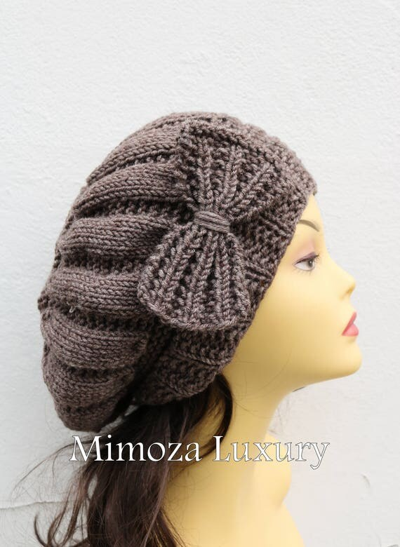 Walnut Brown Woman Hand Knitted Hat with Bow, Brown/Grey Beret hat with bow, brown knit hat, slouchy knit women's hat with bow, winter hat
