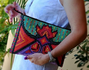 Made to order: Regal Large Clutch OOAK embroidered by hand in unique design, Zipper pouch, Desirable purse, Gift idea