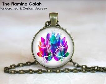 LOTUS FLOWER Pendant • Purple Lotus Flower • Watercolour Lotus Flower • Mandala Flower • Gift Under 20 • Made in Australia (P1338)