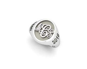 Monogram ring silver signet ring personalized ring school ring