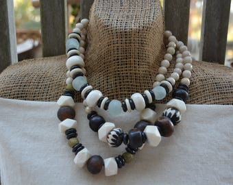 Neutral Statement Necklace | African Glass Trade Beads | BOHO Necklace