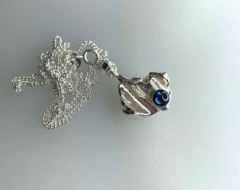 Silver Freeform Pendant with Blue Paua Shell Stone and Sterling Silver Curb Chain