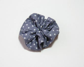 Brooch in grey fabric with white polka dots