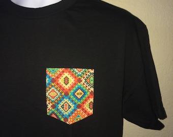 Peruvian print - Pocket Tee Black or White T-Shirt