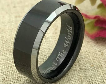 8mm Personalized Tungsten Ring, Custom Promise Ring for Him, His Wedding Band, Custom Date Ring, Custom Name Ring, Purity Ring