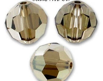 6 round beads 6mm faceted Swarovski Crystal Bronze Shade
