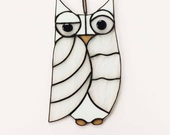 White Stained Glass Owl