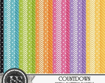 On Sale 50% Countdown New Year's Digital Scrapbook Kit Extra Papers Pack - Digital Scrapbooking
