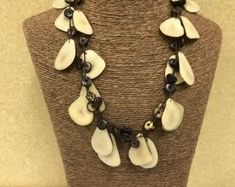 Tagua nut jewelry-  bead necklace. Eco Friendly- Cream