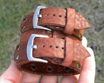 Bracelet Tobacco Buffalo Bison  leather adjustable sizable 7 to 8 inch wrist size buckle closure