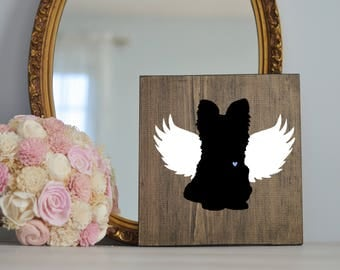 Yorkshire Terrier Angel Wing Silhouette, Remembrance Sign, Dog Memorial, Loss of Dog, Yorkie, Yorkie Pet Loss, Yorkie Memorial