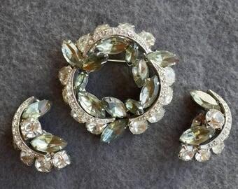 Vintage Rhinestone Brooch and Earrings