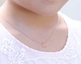 Flower Girl Gift, Flower Girl Jewelry, Rose gold Necklace, Rose Gold Flower Girl Necklace, Girls Initial Necklace, Flower Necklace Gift