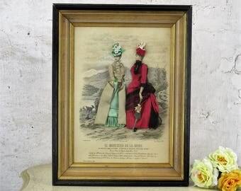 moniteur de la Monde Fabric Embellished 3D Victorian Shadow Box Fashion Print