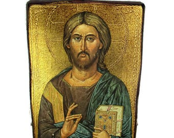 Vintage Wooden Icon Jesus Christ Pantocrator Gold Leafs Beautiful