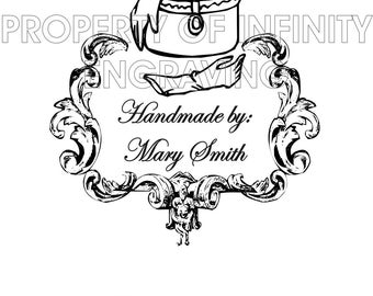 Personalized - Handmade by - Vintage/Victorian - Rubber Stamp