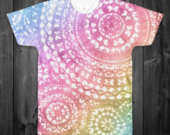 Rainbow Watercolor Doilies All Over Shirt (Two Sided)