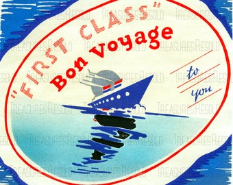 Retro Bon Voyage First Class Cruise Ship Vacation Travel Card #662 Digital Download