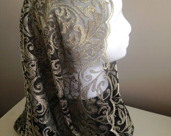 Gold and black lace mantilla style chapel veil. Infinity style