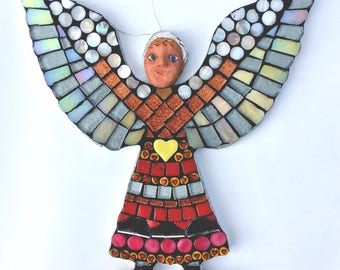 Angel figurine - Spirit Doll - Mythical creature - medieval gifts - christmas gifts - oddities - strange and unusal - spiritual art - mosaic