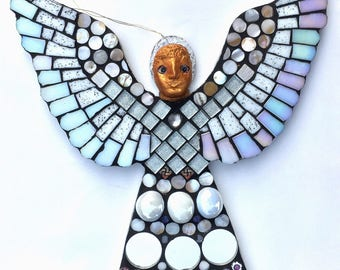 Spirit Angel - mosaic angel - art doll - medieval gifts - magical art - mythical creatures - fantasy doll - oddities - strange and unusual