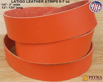 "Orange Leather Strips Latigo - Designer Leather Strip 6-7 oz (2.4 - 2.8 mm) up to 120""-Blank Leather Strips for Craft Projects, Latigo Strip"
