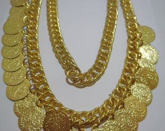 Gypsy necklace Golden Coins Necklace